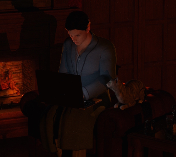 D. W. Weaver sitting in a dark living room by the fireplace writing his next novel on a laptop. A cat is watching his work from the armrest. A glass with an adult beverage is sitting on an end table next to the chair.